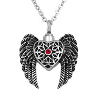 Angel Wing Heart Red Birthstone Cremation Jewelry Ash Holder Funnel Pendant Necklace