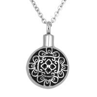 Round Shape Flower Jewelry Memorial Ash Keepsake Funnel Pendant Necklace