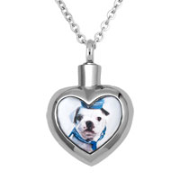 Cute Dog Heart Stainless Steel Jewelry Ash Holder Funnel Pendant Necklace