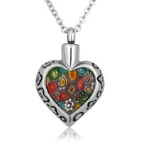 Cute Colorful Flowers Heart Stainless Steel Jewelry Ash Holder Funnel Pendant Necklace