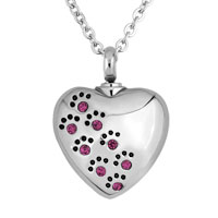Heart Love Pet Paw Prints Stainless Steel Purple Pendant Jewelry Ash Holder Funnel