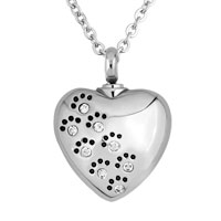 Heart Love Pet Paw Prints Stainless Steel White Pendant Jewelry Ash Holder Funnel
