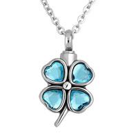 Light Blue Lucky Clover Stainless Steel Pendant Jewelry Ash Holder Funnel