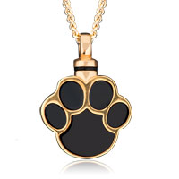 Gold P Black Paw Print Cremation Urn Jewelry Necklace Memorial Pendant Ashes