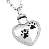 Cremation Urn Jewelry Necklace Paw Print Heart Silver Memorial Pendant Ashes