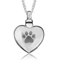 Paw Print Heart Silver Cremation Urn Jewelry Necklace Memorial Pendant Ashes