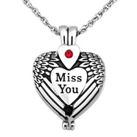 Cremation Urn Necklaces Silver Heart Miss You Angel Wings Memorial Pendant