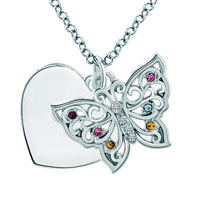 Multicolor Swarovski Crystal Butterfly Animal Personalized Gifts Engraved Custom Pendant Necklace