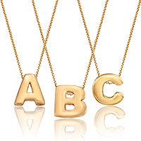 Gold Plated Three Single Initial Custom Made Any Letter Necklace Pendant Sterling Silver Pendant