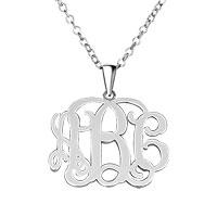 925 Sterling Silver Dangle Monogram Custom Made Any Letter Pendant Necklace Sterling Silver Pendant