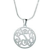 Monogram Necklace 925 Sterling Silver Hoop Custom Made Circle Initial Necklace Sterling Silver Pendant