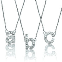 925 Sterling Silver Three Initial Custom Made Any Letter Necklace Pendant Sterling Silver Pendant