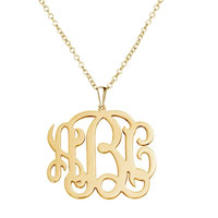 Monogram Necklace 18 K Gold Plated Personalized Initial Name Necklace 20 Sterling Silver Pendant