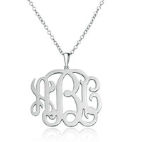 Monogram Necklace Sterling Silver Personalized Initial Name Necklace 16 Sterling Silver Pendant