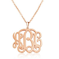 Monogram Necklace 18 K Rose Gold Plated Personalized Initial Name Necklace 22 Sterling Silver Pendant