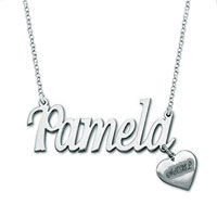 Name Necklace 925 Sterling Silver Heart Engraved Custom Made Jewelry Sterling Silver Pendant