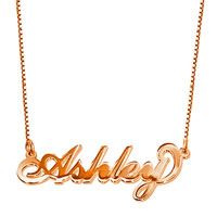 18 K Rose Gold Plate Personalized Name Necklace 14 Custom Made Any Name Sterling Silver Pendant