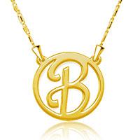 925 Sterling Silver Dangle Hoop Monogram Alphabet Letter D Custom Made Any Initial Letter Pendant Necklace Sterling Silver Pendant