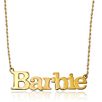 Name Necklace 18 K Gold 925 Sterling Silver Block Letters Custom Made