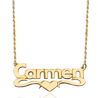 New Fashion 18 K Gold Middle Heart Love Custom Made Name Necklace