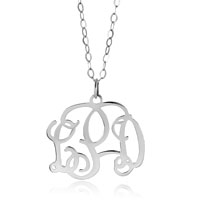 Monogram Necklace 925 Sterling Silver Celebrity Monogram Custom Made Necklace Sterling Silver Pendant