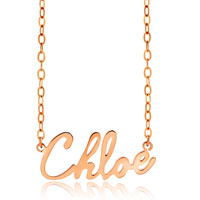 18 K Rose Gold Plate Personalized Name Necklace 18 Custom Made Any Name Sterling Silver Pendant