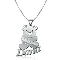 Name Necklace 925 Sterling Silver Cute Teddy Bear Middle Custom Made Sterling Silver Pendant