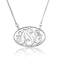 925 Sterling Silver Dangle Oval Monogram Letter Custom Made Any Initial Pendant Necklace Sterling Silver Pendant