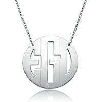 925 Sterling Silver Dangle Block Monogram Letter Circle Custom Made Any Initial Pendant Necklace Sterling Silver Pendant