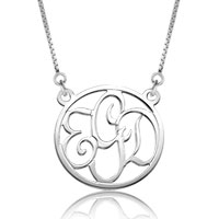 925 Sterling Silver Dangle Round Monogram Letter Circle Custom Made Any Initial Pendant Necklace Sterling Silver Pendant