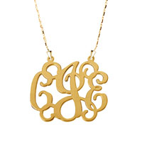 Monogram Necklace 18 K Gold Plated 925 Sterling Silver Xxl Statement Custom Made