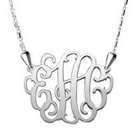 925 Sterling Silver Dangle Monogram Custom Made Any Letter Pendant Necklace Sterling Silver Pendant