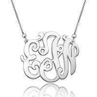 Monogram Necklace Sterling Silver Personalized Initial Name Necklace 22 Sterling Silver Pendant