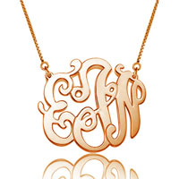 Monogram Necklace 18 K Rose Gold Plated Personalized Initial Name Necklace 14 Sterling Silver Pendant