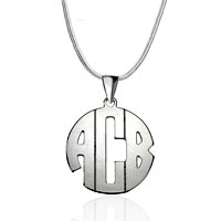Monogram Necklace 925 Sterling Xxl Large Block Custom Made Name Necklace Sterling Silver Pendant