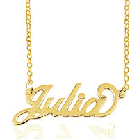 18 K Gold Plated Personalized Name Necklace 14 Custom Made With Any Name Sterling Silver Pendant