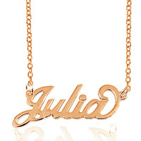 18 K Rose Gold Plated Personalized Name Necklace 14 Custom Made With Any Name Sterling Silver Pendant