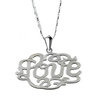 Monogram Necklace High Quality Acrylic Love Custom Made Monogram Necklace Sterling Silver Pendant