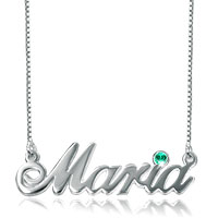 Name Necklace 925 Sterling Sliver Diamond Accent Custom Made Name Sterling Silver Pendant