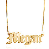 New 18 K Gold 925 Sterling Silver Old English Gothic Name Necklace