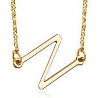 Initial Necklace 18 K Gold Plated 925 Sterling Silver Sideways Initial Necklace