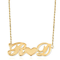Initial Necklace 18 K Gold 925 Sterling Silver Initials Middle Heart