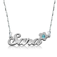 Name Necklace 925 Sterling Silver Crystal Flower Custom Made P 2