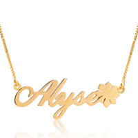 Name Necklace 18 K Gold Plated 925 Sterling Silver Flower Custom Made 14