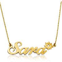 Name Necklace 18 K Gold 925 Sterling Silver Flower Custom Made 14