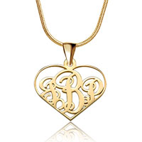 925 Sterling Silver Dangle Heart Monogram Letter Custom Made Any Initial Pendant Necklace Sterling Silver Pendant