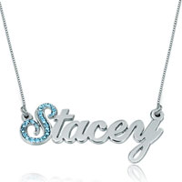 Name Necklace 925 Sterling Silver Aquamarine Swarovskiy Custom Made Sterling Silver Pendant