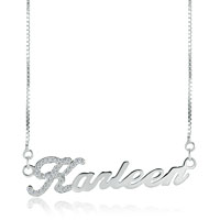 Name Necklace 925 Sterling Silver Clear White Swarovskiy Custom Made Sterling Silver Pendant