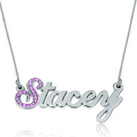Name Necklace 925 Sterling Silver Lavender Custom Made New Sterling Silver Pendant