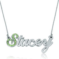 925 Sterling Silver Peridot Green Crystal Custom Made Name Necklace Sterling Silver Pendant